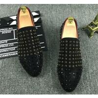 Men's Driving Punk Studded Rhinestone Slip On Dress Loafers Casual Shoes oxford