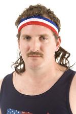 "The Bobcat Mullet Headband Comfortable Design 7"" Wavy Brown Hair"