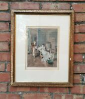 Vintage Framed French Print Courting Couple? Gold Frame Traditional Wall Picture