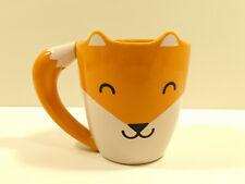 Orange Simplistic Smiling Fox Coffee Mug Cup Cute w/ Tail Handle