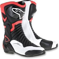 Alpinestars Mens SMX-6 Black Red White Textile Motorcycle Riding Street Boots