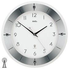 AMS 5848 Wanduhr Funk Funkwanduhr analog silbern rund mit Glas und Aluminium
