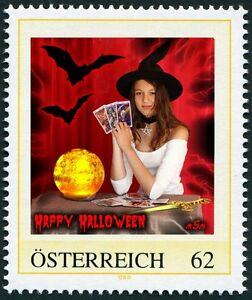 U) Personalized stamp halloween witch bat tarot cards dagger girl AUSTRIA 2011