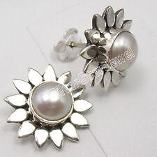 925 Silber ! AAA Süßwasser-Perle Weiß Perlen Blüte Blume Ohrstecker Ohrringe