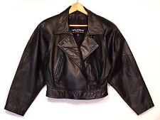 Wilson's vintage black leather cropped biker rocker jacket / women's M / VGC b23