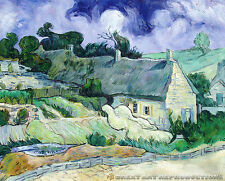 """Thatched Cottages at Cordeville"",  Vincent vanGogh Reproduction in Oil, 50""x40"""