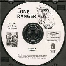 THE LONE RANGER - 1,097 Shows Old Time Radio In MP3 Format OTR On 2 DVDs
