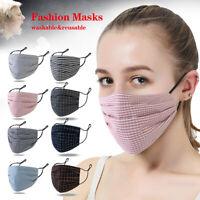 Lattice Fashion Face Mask Cover Breathable Mouth Masks Reusable Washable Cotton