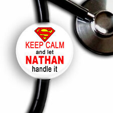 KEEP CALM SUPER HERO PERSONALIZED STETHOSCOPE ID TAG