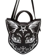 Banned Apparel Némesis cabeza de gato Punky Gótico bruja cruzado monedero