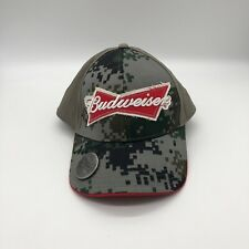 NWT Camo Budweiser Hat With Bottle Opener Under Hat Visor