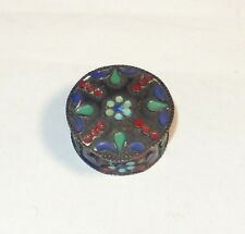 CHINESE STERLING SILVER CLOISONNE ENAMEL ROUND PILL SNUFF JAR BOX 92.5