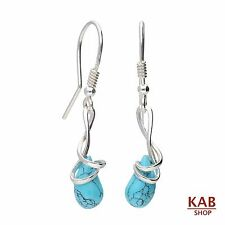 STERLING SILVER 925 EARRINGS TURQUOISE GEMSTONE BEAUTY STONE, KAB-177