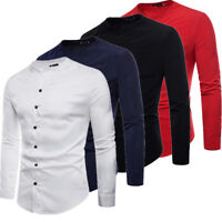 US Stock Mens Long Sleeve Fit Slim Tunic T Shirt Formal Casual Stylish Top Shirt