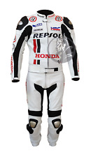 Honda Repsol Moto Racing Costume   en Cuir Blanc Veste & Pantalon   CE Armure