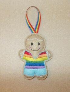 Pride (LGBT) Gingerbread Felt Embroidered Hanging decoration ornament