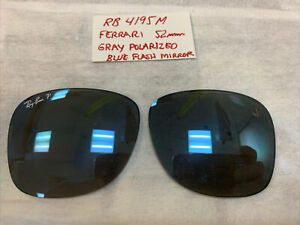 RB 4195M RayBan Ferrari Replacement Lenses Gray With Blue Flash Mirror 52mm