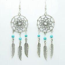 Dream Catcher Pierced Earrings Silver Drop Dangle Feather Turquoise Bead Hook