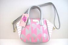 Betsey Johnson Lbquinn Silver and Pink Bows Mini Satchel Crossbody Bag