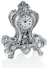 Italian Silver Resin Hand Made Desk Clock - Baroque Style