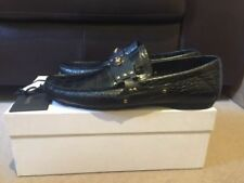 Versace Medusa Black Croc Embossed Driving Shoes Loafers Sizes UK 7.5, UK 10.5