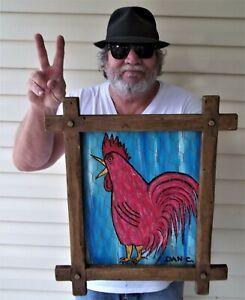 Red Rooster fun Chicken Hen House Decoy art  Dan C Outsider Folk Art Painting