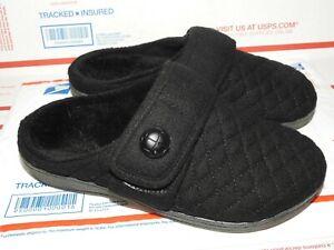 VIONIC CARLIN Women's Mule Slipper Pain Release Flannel Textile Black Size 7