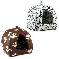 PET CAT DOG FLEECE WASHABLE IGLOO BED PYRAMID COZY PETS HUT HOUSE TRAVEL BASKET