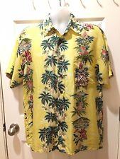 Silk Company Hawaiian Mens Shirt Button M Silk Yellow Floral King Vintage Green
