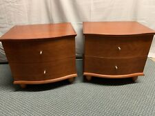 Mid Century Mobican Novella Antique Cherry Wood Night Stands