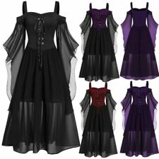 Womens Gothic Witch Costume Halloween Victorian Renaissance Medieval Long Dress