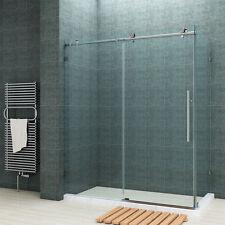 """SUNNY SHOWER Full Frameless Sliding Shower Enclosure 60""""Wx32""""D stainless steel"""
