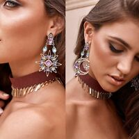 Gold Star Sun Moon Crystal Rhinestone Stud Dangle Pretty Funky Earrings Pary HOT