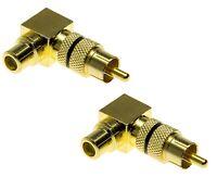 2x Cinch Stecker auf Cinch Buchse Winkel Adapter Kupplung Audio Radio Verstärker