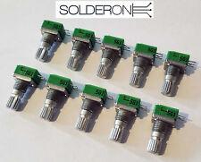 10pcs 10k Log Potentiometer 18T Spline 10mm Single Horizontal PCB