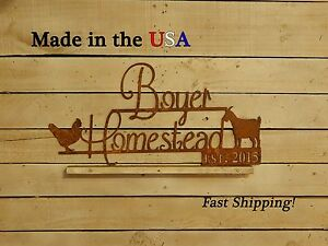 Family Farm Sign, Chicken Decor, Chicken Coop Sign,Goat, Barn Name, S1148