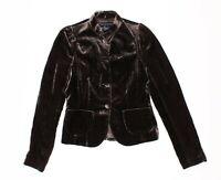Womens French Connection Elegant Crushed Velvet Brown Blazer Jacket Size 4