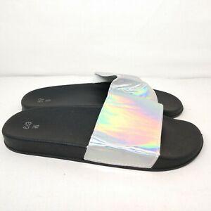 NWOT Iridescent (8-9) Black Slides Shoes Unbranded Medium Colorful