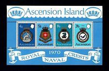 ASCENSION - 1970 - COATS OF ARMS - ROYAL NAVY SHIPS - CRESTS - MINT MNH S/SHEET!