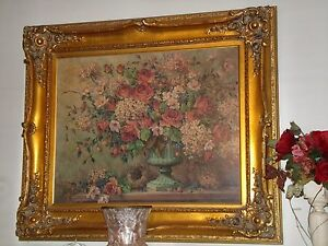 """BARBARA MOCK """"COLETTE'S COLLECTION"""" OIL PAINTING / BENTLY HOUSE GOLD FRAME"""