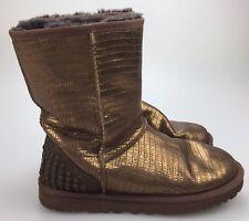 Women's 7 38 UGG Australia Lizard Studs Gold Bronze Sheepskin Short Boots Warm