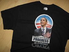 Barack Obama Tee - USA President American Flag Progress Black T Shirt Medium