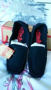 WOMENS BLACK CANVAS MOCKS FLATS SHOES LOAFERS MOCCASINS NEW & BOXED