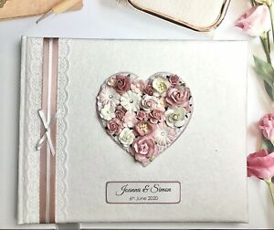 Large Luxury Personalised Wedding Photo Album, Any Colour, Floral Heart