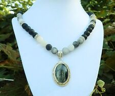 "20"" Black & White Frosted Necklace with Sterling Silver Zebra Jasper Pendant"