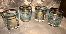 4 Libby Southern Comfort Steamboat 6 oz. 3.25� Tumbler Glasses Turquoise & Gold