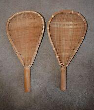 VTG Pair Lacrosse Bats Mits Jai-Alai Paddles Bamboo Woven EUC