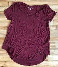 Women's Juniors HOLLISTER Solid Burgundy Red Viscose Pocket Tee Shirt Size Small