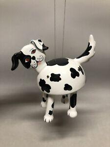 2006 Bird Brain Ceramic Black & White Dog Pet Wind Chime