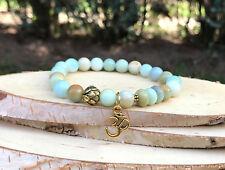 Lotus Om Armband Amazonit Gold Armband